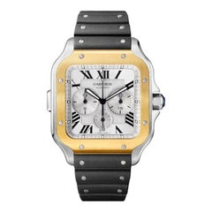 Cartier Santos Automatic Chronograph Yellow Gold & Steel Watch W2SA0008