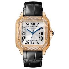 Cartier Santos Automatic Medium Model Pink Gold & Diamonds Watch WJSA0007