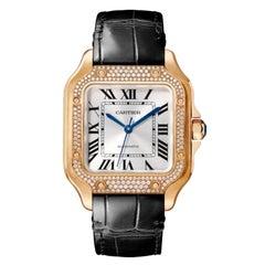 Cartier Santos Automatic Medium Model Pink Gold & Diamonds Watch WJSA0012
