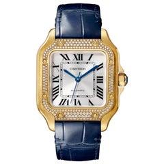 Cartier Santos Automatic Medium Model Yellow Gold & Diamonds Watch WJSA0008