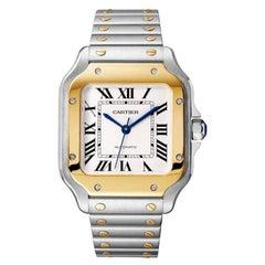 Cartier Santos Automatic Medium Model Yellow Gold & Steel Watch W2SA0016