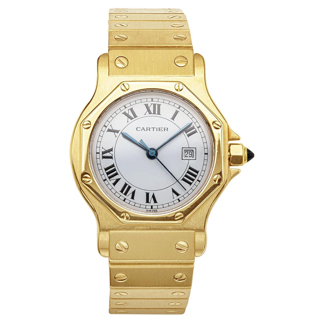Cartier Santos Automatique 18k Yellow Gold Wristwatch