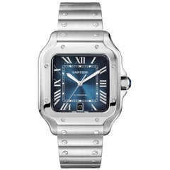 Cartier Santos Blue Dial Large Stainless Steel Watch WSSA0030