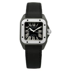 Cartier Santos Carbon Coated Black Dial Automatic Ladies Watch REF 2878