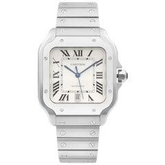 Cartier Santos de Cartier Acier Steel Silver Dial Automatic Men's Watch