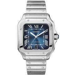 Cartier Santos De Cartier Large Blue Dial Stainless Steel Mens Watch WSSA0030