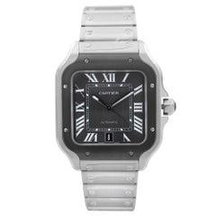 Cartier Santos De Cartier Large Steel Gray Dial Automatic Mens Watch WSSA0037