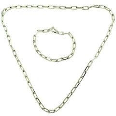 Cartier Santos De Cartier Necklace and Bracelet Two-Piece Set in White Gold