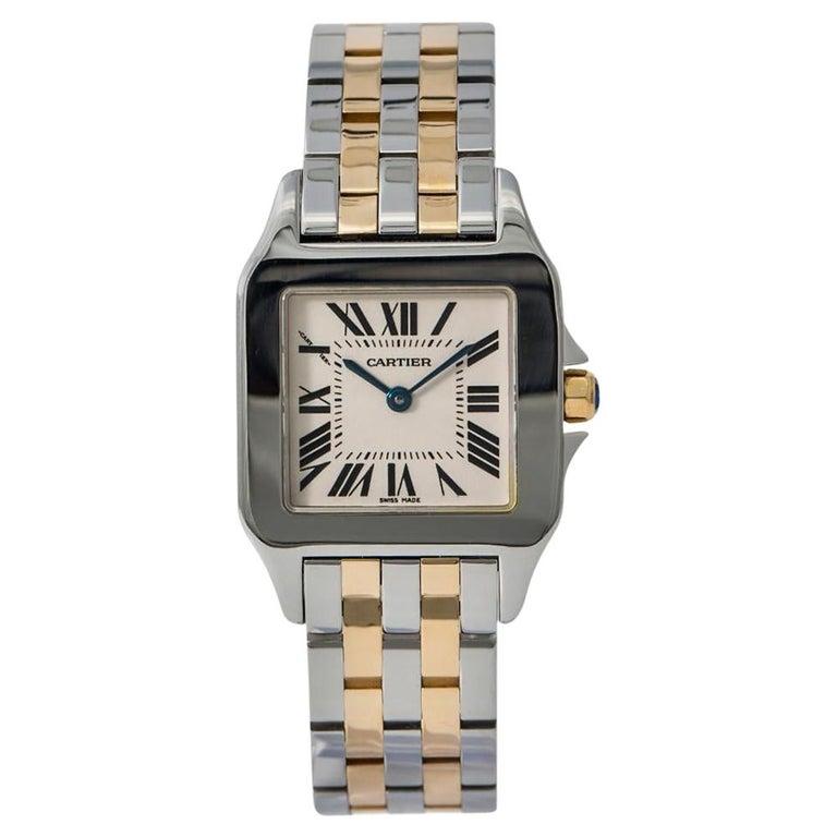 Cartier Santos Demoiselle 2701 W25065Z5 Womens Two-Tone Quartz Watch For Sale