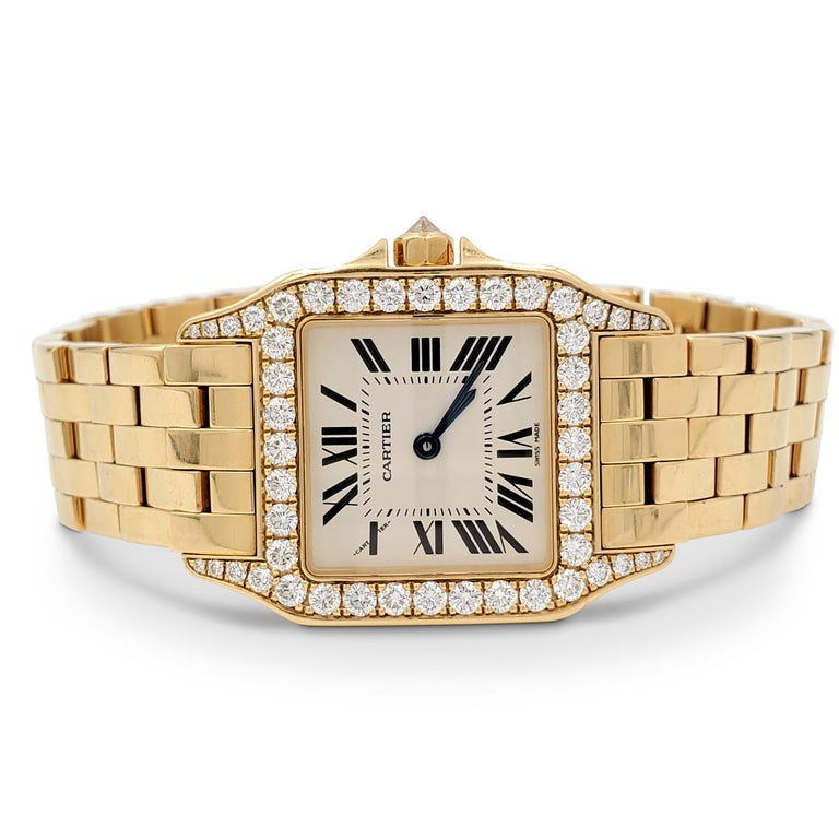 Round Cut Cartier Santos Demoiselle Gold and Diamond Ladies Watch For Sale