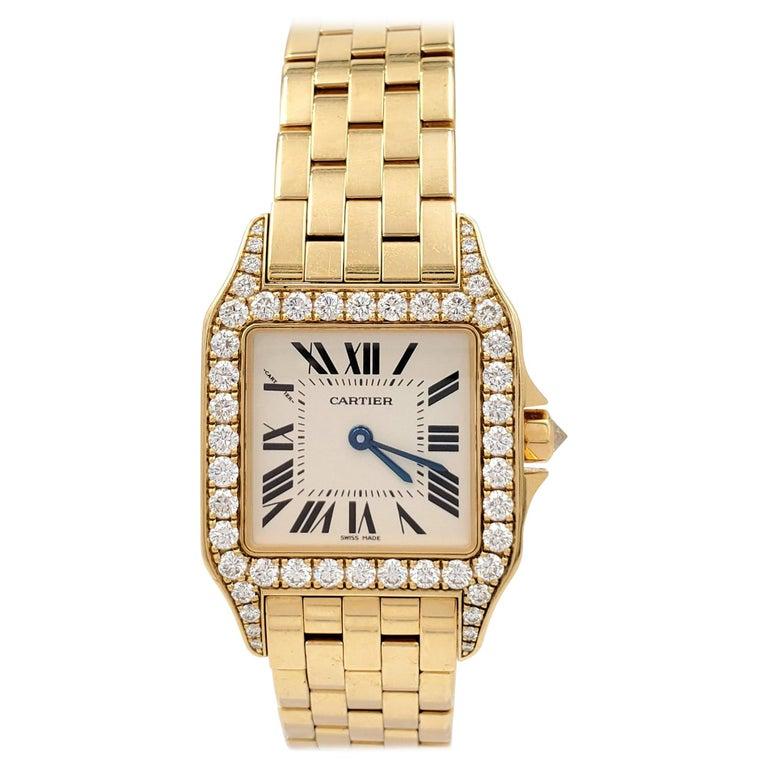 Cartier Santos Demoiselle Gold and Diamond Ladies Watch For Sale