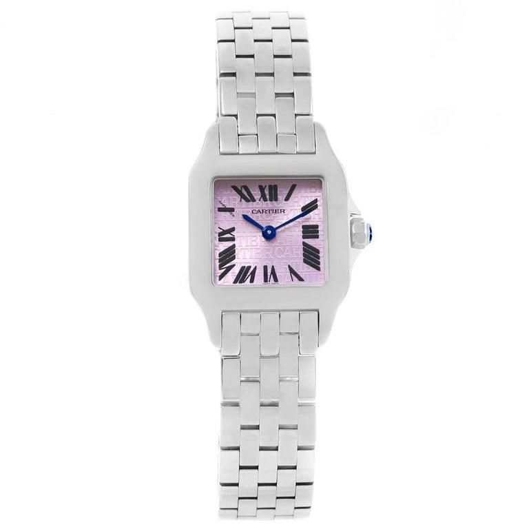 Cartier Santos Demoiselle Purple Dial Small Ladies Watch W2510002 In Excellent Condition For Sale In Atlanta, GA