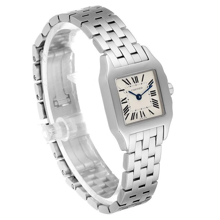 Cartier Santos Demoiselle Stainless Steel Ladies Watch W25064Z5 Box Papers In Excellent Condition For Sale In Atlanta, GA