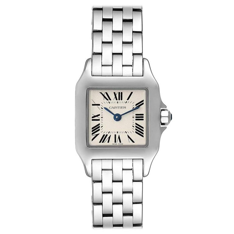 Cartier Santos Demoiselle Stainless Steel Ladies Watch W25064Z5 Box Papers For Sale
