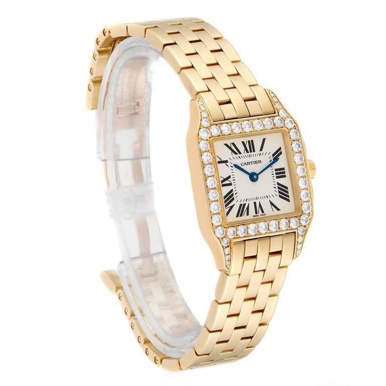 Cartier Santos Demoiselle Yellow Gold Diamond Midsize Ladies Watch WF9002Y7 In Excellent Condition For Sale In Atlanta, GA