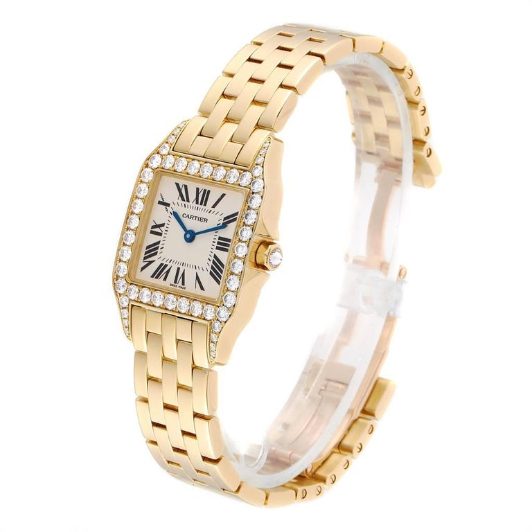 Women's Cartier Santos Demoiselle Yellow Gold Diamond Midsize Ladies Watch WF9002Y7 For Sale