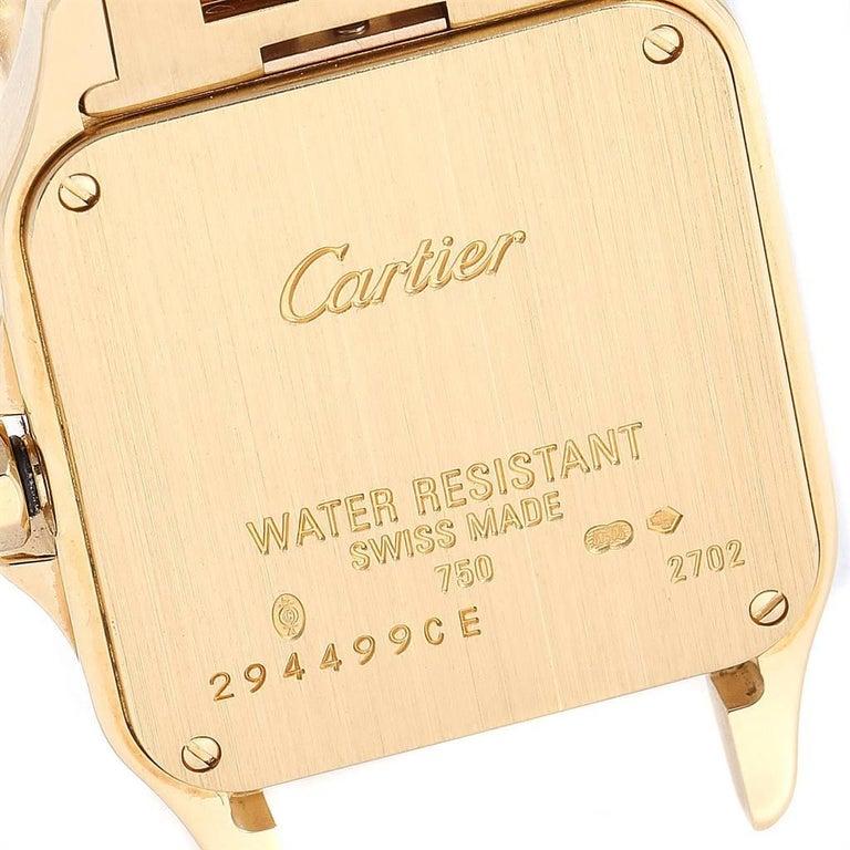 Cartier Santos Demoiselle Yellow Gold Diamond Midsize Ladies Watch WF9002Y7 For Sale 1