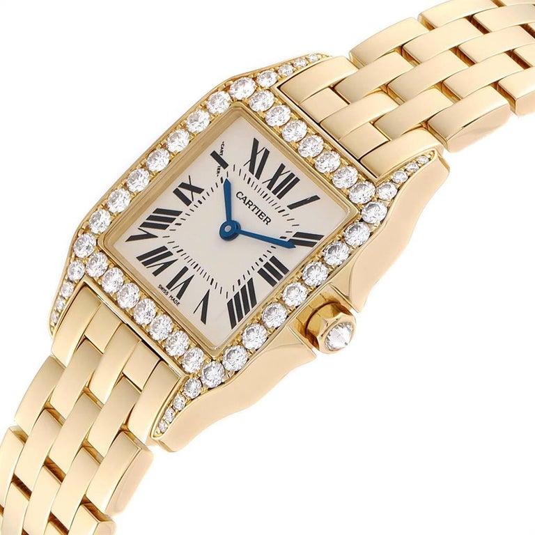 Cartier Santos Demoiselle Yellow Gold Diamond Midsize Ladies Watch WF9002Y7 For Sale 2