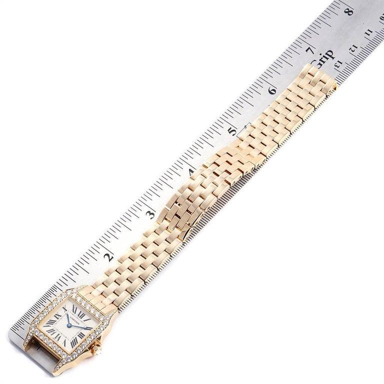 Cartier Santos Demoiselle Yellow Gold Diamond Midsize Ladies Watch WF9002Y7 For Sale 4