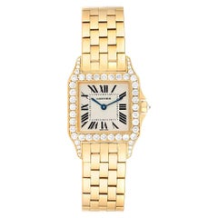 Cartier Santos Demoiselle Yellow Gold Diamond Midsize Ladies Watch WF9002Y7