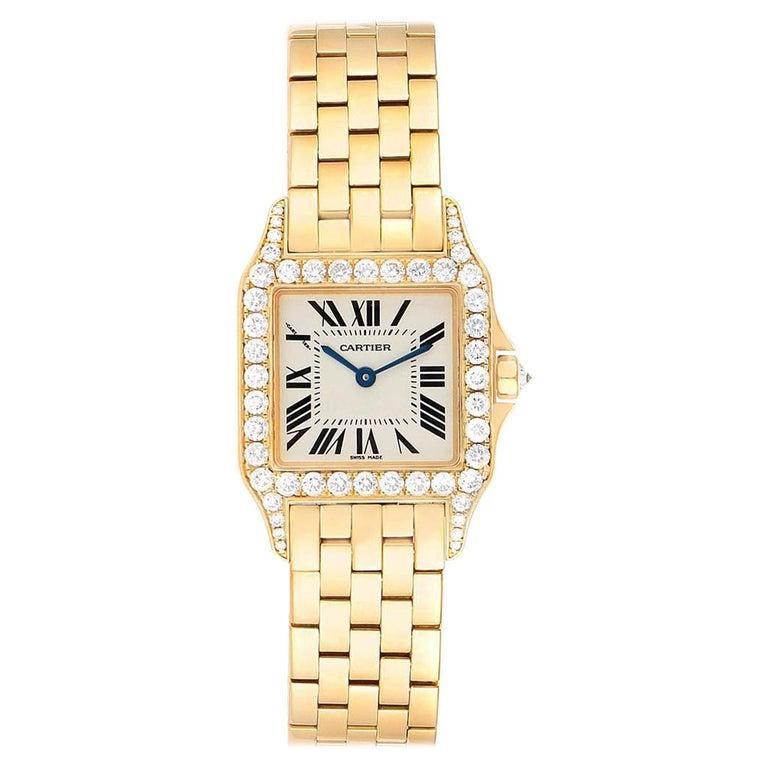 Cartier Santos Demoiselle Yellow Gold Diamond Midsize Ladies Watch WF9002Y7 For Sale