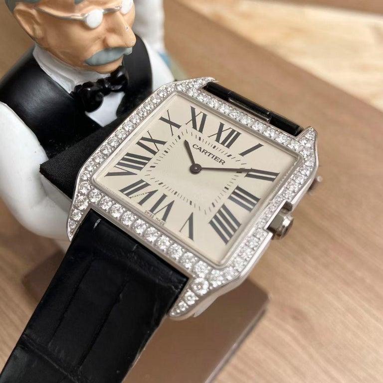 Round Cut Cartier Santos Dumont 18k White Gold Diamond Silver Dial Mens Watch Ref:W2007051 For Sale