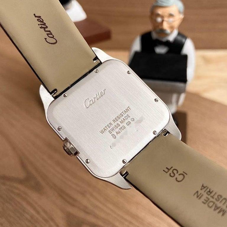 Cartier Santos Dumont 18k White Gold Diamond Silver Dial Mens Watch Ref:W2007051 For Sale 2