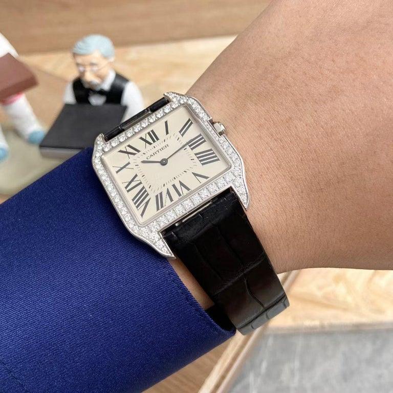 Cartier Santos Dumont 18k White Gold Diamond Silver Dial Mens Watch Ref:W2007051 For Sale 3