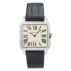 Cartier Santos Dumont 18k White Gold Diamond Silver Dial Mens Watch Ref:W2007051