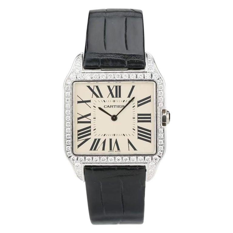 Cartier Santos Dumont 18k White Gold Diamond Silver Dial Mens Watch Ref:W2007051 For Sale