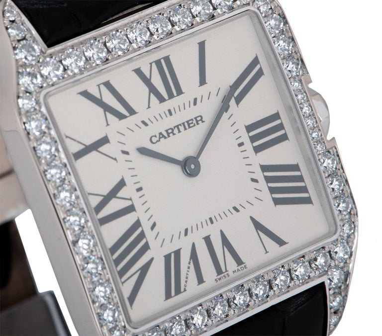 Round Cut Cartier Santos Dumont Gents 18 Karat Gold Silvered Dial Diamond Set WH100651 For Sale
