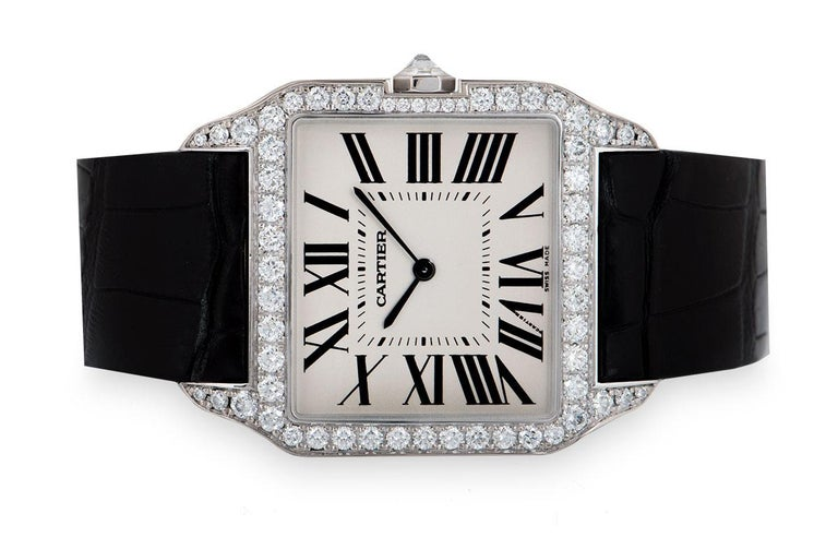 Cartier Santos Dumont Gents 18 Karat Gold Silvered Dial Diamond Set WH100651 In Excellent Condition For Sale In London, GB