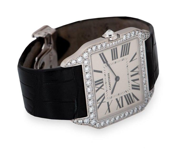 Men's Cartier Santos Dumont Gents 18 Karat Gold Silvered Dial Diamond Set WH100651 For Sale