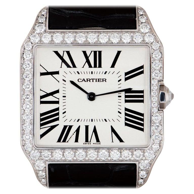 Cartier Santos Dumont Gents 18 Karat Gold Silvered Dial Diamond Set WH100651 For Sale
