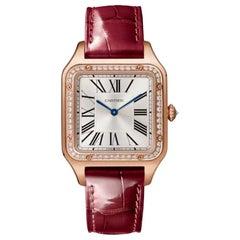 Cartier Santos-Dumont Quartz Large Model Pink Gold and Diamonds Watch WJSA0016