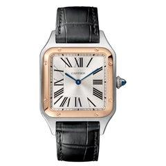 Cartier Santos-Dumont Quartz Large Model Pink Gold & Steel Watch W2SA0011