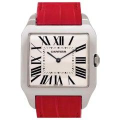 Cartier Santos Dumont W2007051 18 Karat White Gold Silver Dial Manual Watch