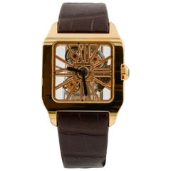 Cartier Santos Dumont XL 18 Karat Rose Gold .56 Carat Sapphire Watch