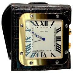 NEW Cartier Santos Exotic Gold Travel Alarm Desk Clock - Full Set