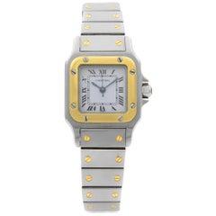 Cartier Santos Galbee 18 Karat Gold Steel White Dial Ladies Watch 1170902