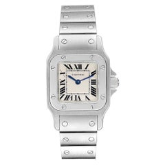 Cartier Santos Galbee Blue Hands Steel Ladies Watch W20056D6