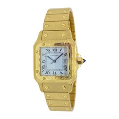 Cartier Santos Automatic Heavy Solid All 18 Karat Yellow Gold Watch 83DWT