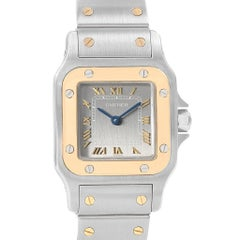 Cartier Santos Galbee Large Steel 18 Karat Yellow Gold Quartz Watch 1057930