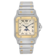 Cartier Santos Galbee Moonphase 18k Gold Steel Cream Dial Men Watch 119901