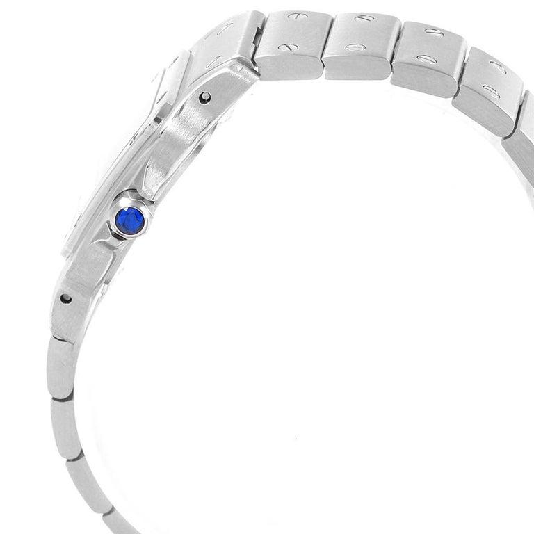 Cartier Santos Galbee Small Steel Silver Dial Ladies Watch W20056D6 In Excellent Condition In Atlanta, GA