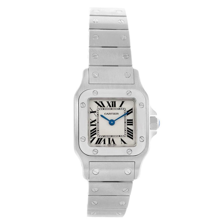 Cartier Santos Galbee Small Steel Silver Dial Ladies Watch W20056D6 1