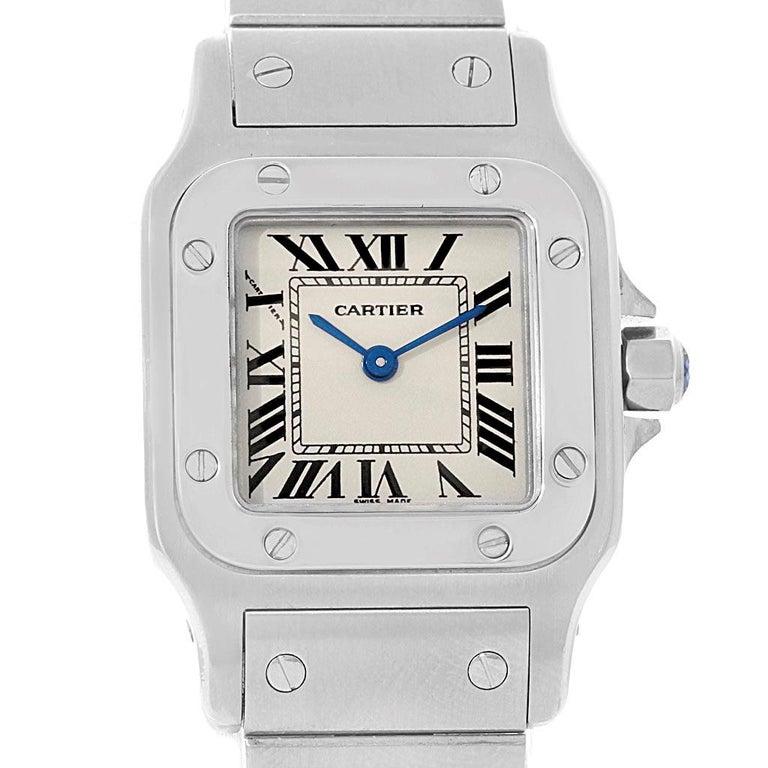 Cartier Santos Galbee Small Steel Silver Dial Ladies Watch W20056D6