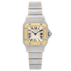 Cartier Santos Galbee Stainless Steel Gold Cream Dial Ladies Quartz Watch 1567
