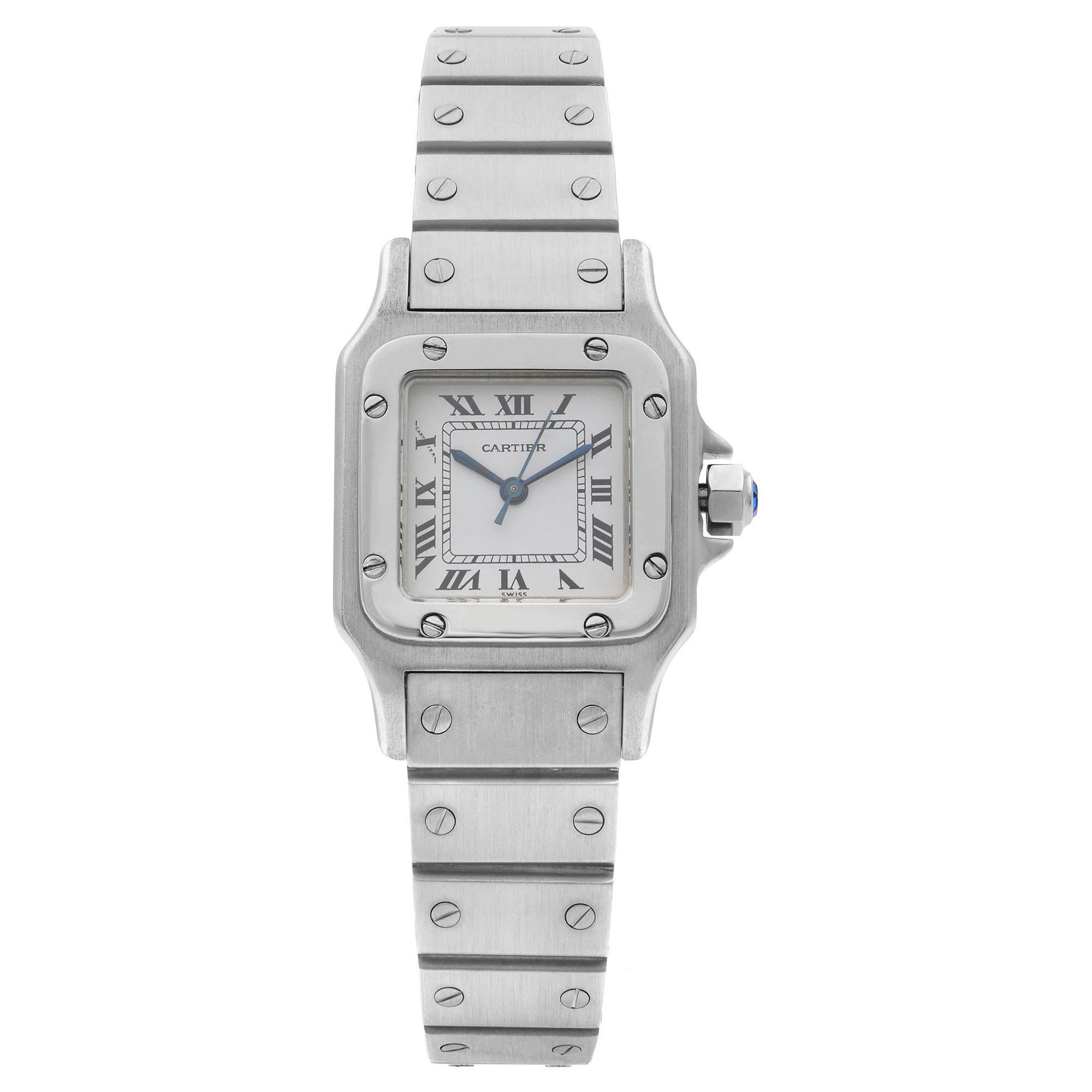 Cartier Santos Galbee Steel White Dial Automatic Ladies Watch 0901