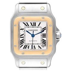 Cartier Santos Galbee XL Steel Yellow Gold Men's Watch W20099C4 Box Papers